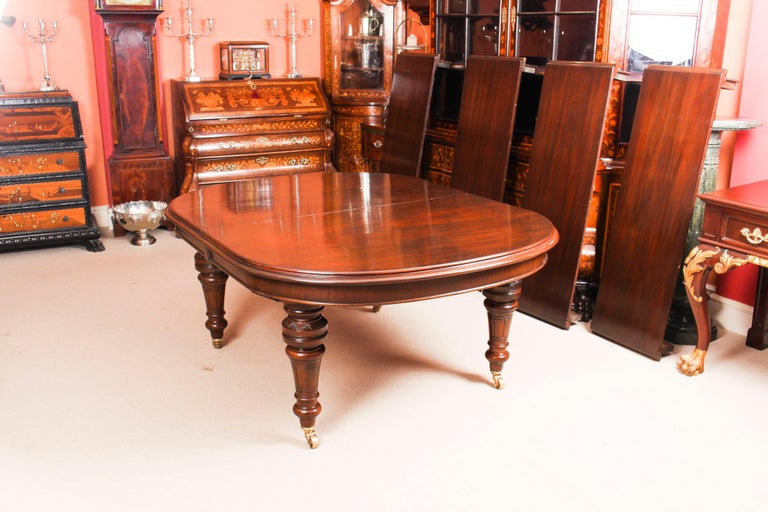 Antique Victorian D-End Mahogany Dining Table 19th Century and 10 Chairs 14