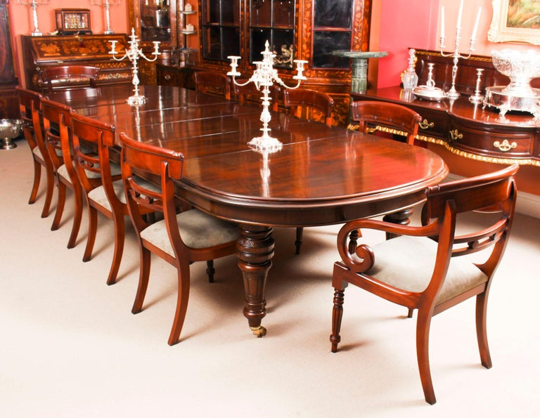 English Antique Victorian D-End Mahogany Dining Table 19th Century and 10 Chairs