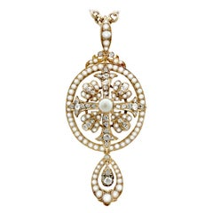 Antique 1.32 Carat Diamond and Seed Pearl, Yellow Gold Pendant