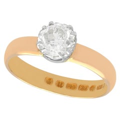 Antique 1.34 Carat Diamond and Rose Gold Solitaire Ring
