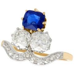 Antique 1.35 Carat Sapphire 2.06 Carat Diamond Yellow Gold Cocktail Ring