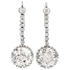 Antique 13.54 Carat European Cut Diamond Platinum Dangling Earrings