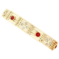 Antique 1.38 Carat Ruby and Diamond Yellow Gold Gate Bracelet