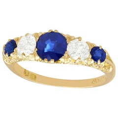 Antique 1.39 Carat Sapphire and Diamond Yellow Gold Five-Stone Ring