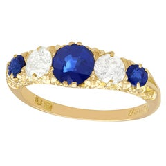 Antique 1.39 Carat Sapphire Diamond Yellow Gold Five-Stone Ring