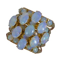 Antique 14 Carat Rose Gold and Opal Five Ring Stack Cluster Ring