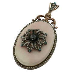 Antique 14 Carat Rose Gold and Sterling Silver Coral Pendant/Locket