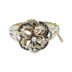 Antique 14 Carat Yellow Gold Pearl & Black Enamel 'BOW' Bracelet