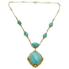 Antique 14 Karat and Turquoise Necklace