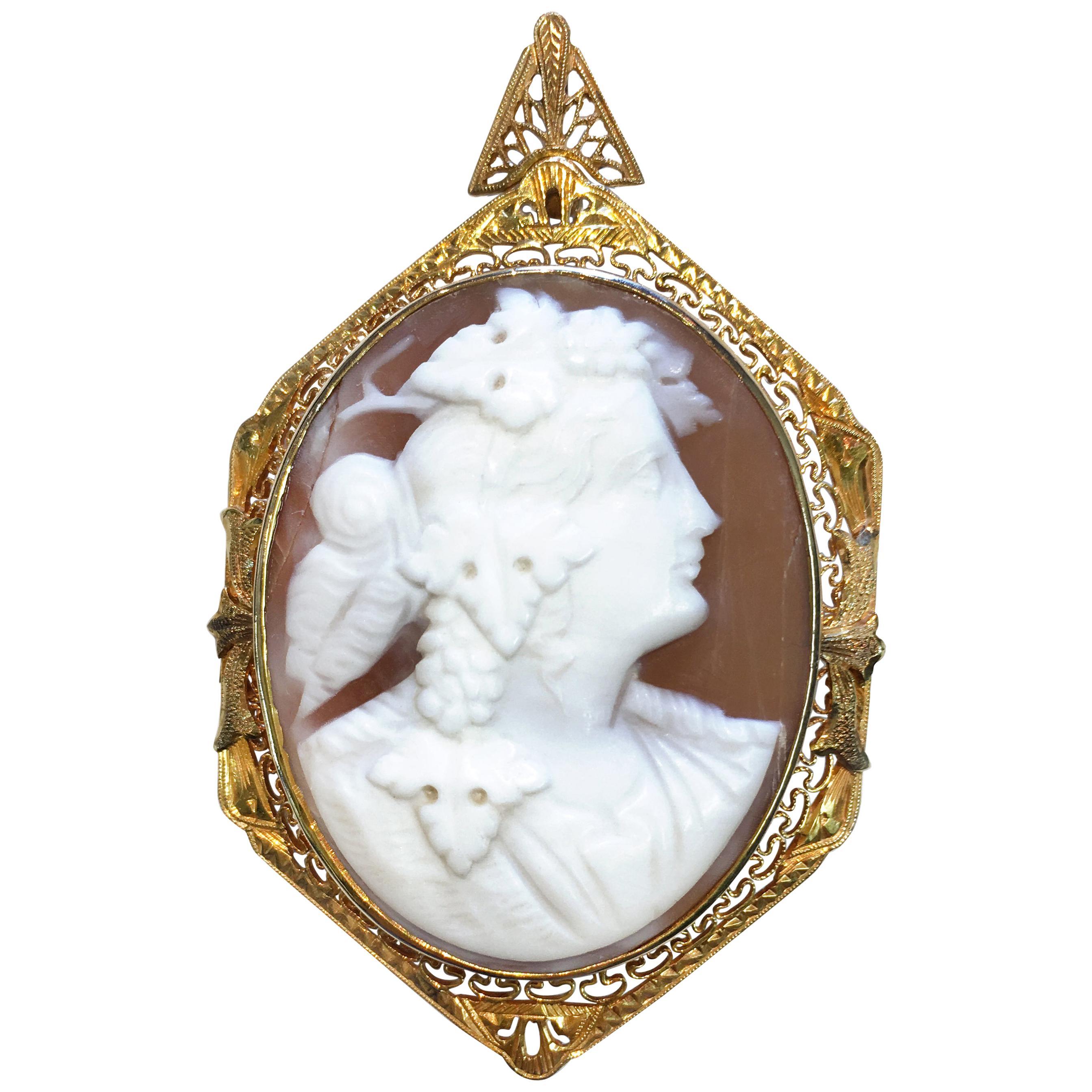 Antique 14 Karat Carved Shell Cameo Brooch Pendant
