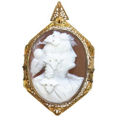 Antique 14 Karat Carved Shell Cameo Brooch Pendant