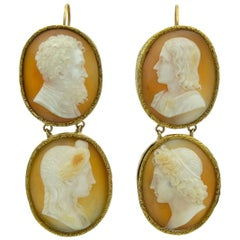 Antique 14 Karat Carved Shell Cameo Double Drop Earrings