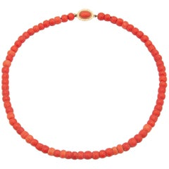 14 Karat Gold Natural Red Coral Beaded Necklace
