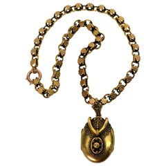 Antique 14 Karat Double Looped Chain Pendant Locket Necklace