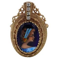 Antique 14 Karat French Painted Enamel Diamond Portrait Brooch Pin or Pendant