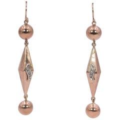 Antique 14 Karat Gold and Diamond Drop Earrings, 1940s