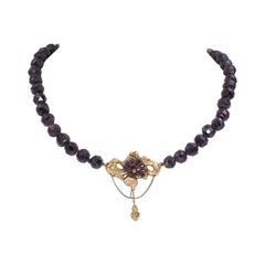 Antique 14 Karat Gold and Garntes Necklace, Early 20th Century