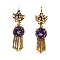 Antique 14 Karat Gold & Blue Enamel & Pearl Dangle Fringe Drop Earrings