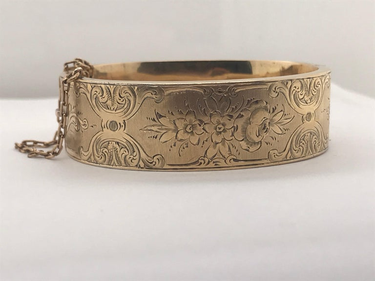Women's or Men's Antique 14 Karat Gold Child Sized Bangle Bracelet, circa 1880 For Sale