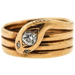 Antique 14 Karat Gold Coiled Snake Ring Set with Diamond