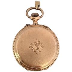 Antique 14 Karat Gold Engine Turned Case Key-Less Pendant Watch