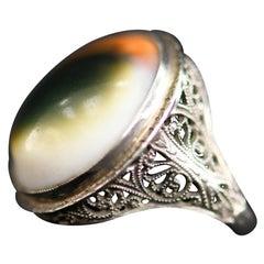 Antique 14-Karat Gold Filigree Eye of Shiva Shell Ring