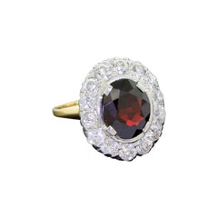 Antique 14 Karat Gold Garnet Diamond High Quality Halo Ring 4 Carat