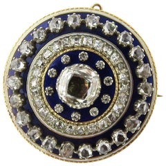 Antique 14 Karat Gold Georgian Rose Cut Diamonds and Blue Enamel Brooch Pendant