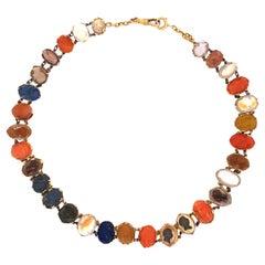 Antique 14 Karat Gold Intaglio Necklace