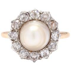 Antique 14 Karat Gold, Pearl and Diamond Ring