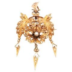Victorian 14 Karat Gold Pearl Pendant Brooch
