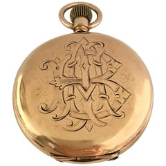 Antique 14 Karat Gold Plated Full Hunter American Waltham Watch Co. Pocket Watch