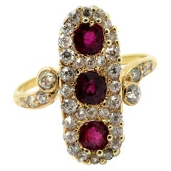 Antique 14 Karat Gold Victorian Style Burmese Ruby and Old European Cut Ring