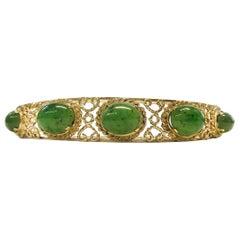 Antique 14 Karat Nephrite Jade Bangle Bracelet
