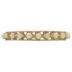 Antique 14 Karat Opal Bangle Bracelet