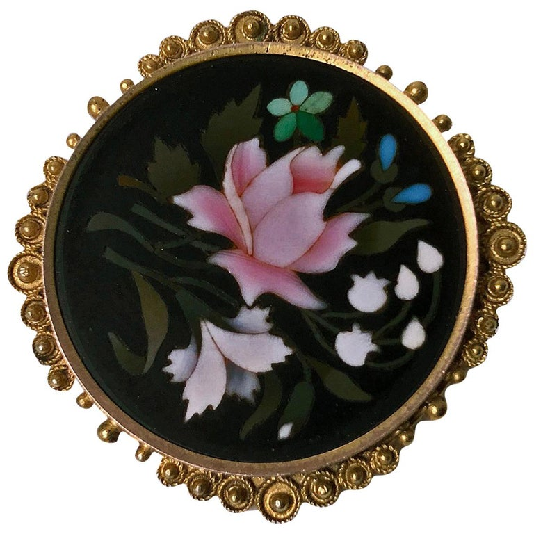 Antique 14 Karat Pietra Dura Brooch Pin, Italy, circa 1875 For Sale