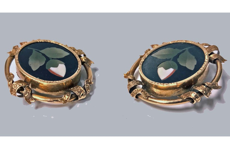 Antique 14 Karat Pietra Dura Earrings, circa 1875 In Good Condition For Sale In Toronto, ON