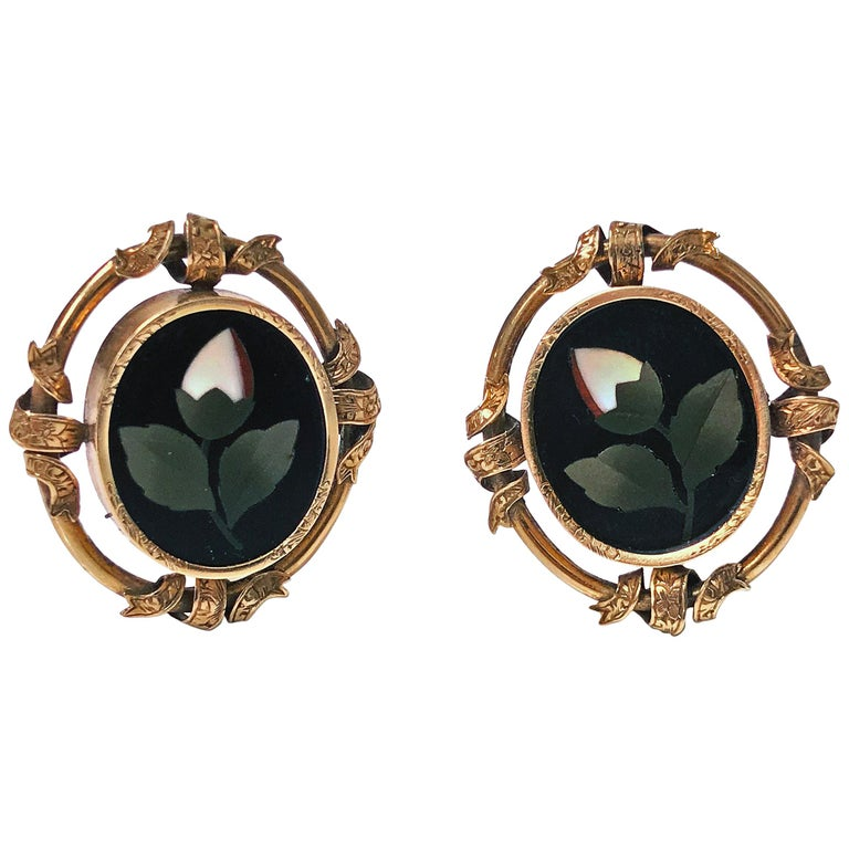 Antique 14 Karat Pietra Dura Earrings, circa 1875 For Sale