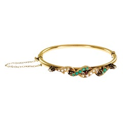 Antique 14 Karat Turquoise Garnet Diamond Bangle Bracelet