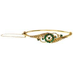 Antique 14 Karat Turquoise Seed Pearl Bangle Bracelet