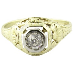 Antique 14 Karat White and Yellow Gold Art Deco Diamond Topped Dome Ring