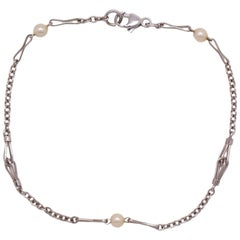 Antique 14 Karat White Gold and Pearl Chain Bracelet, circa 1920s