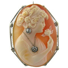 Antique 14 Karat White Gold Cameo Pendant or Brooch