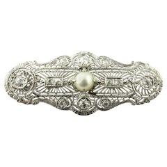 Antique 14 Karat White Gold Diamond and Pearl Filagree Pendant Brooch
