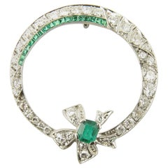 Antique 14 Karat White Gold Emerald and Diamond Pendant #4377