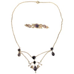 Antique 14-Karat Yellow Gold, Amethyst and Seed Pearl Necklace and Brooch
