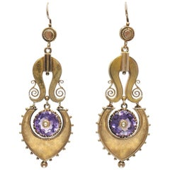 Antique 14 Karat Yellow Gold and Amethyst Pendant Earrings