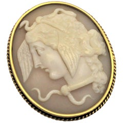 Antique 14-Karat Yellow Gold and Carved Shell Cameo Brooch