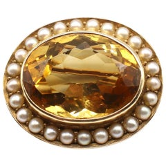 Antique 14 Karat Yellow Gold Citrine and Seed Pearl Oval Pin Brooch
