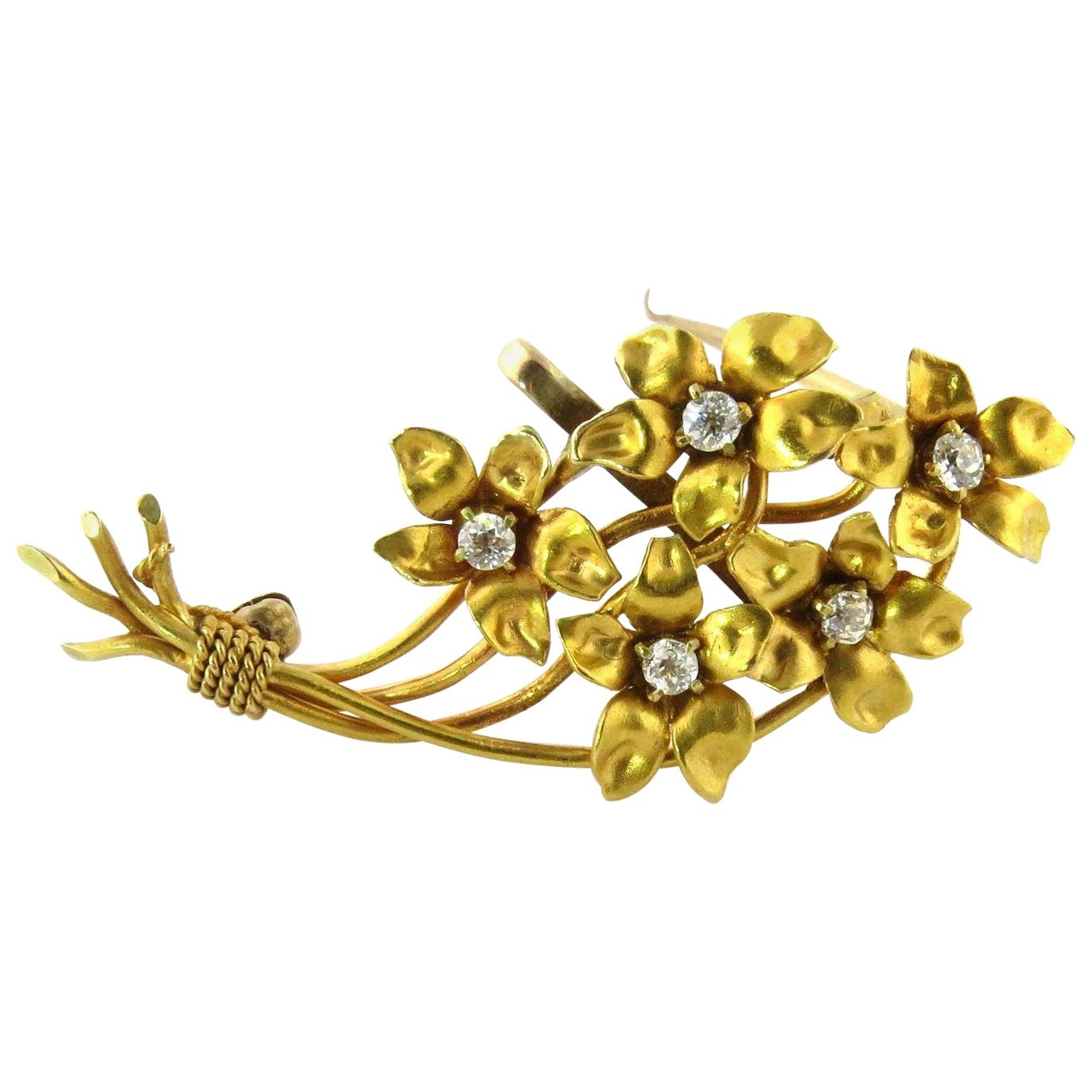 Antique 14 Karat Yellow Gold Diamond Flower Bouquet Brooch Pin